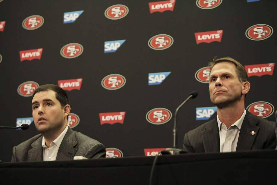 49ers' CEO Jed York and GM Trent Baalke during a press conference held to discuss the departure of Coach Jim Harbaugh and the beginning of a search for a new head coach at Levi Stadium, Santa Clara, Calif., December 29, 2014. Photo: Peter Earl McCollough, Special To The Chronicle