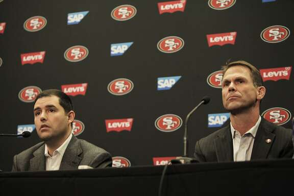 49ers' CEO Jed York and GM Trent Baalke during a press conference held to discuss the departure of Coach Jim Harbaugh and the beginning of a search for a new head coach at Levi Stadium, Santa Clara, Calif., December 29, 2014.