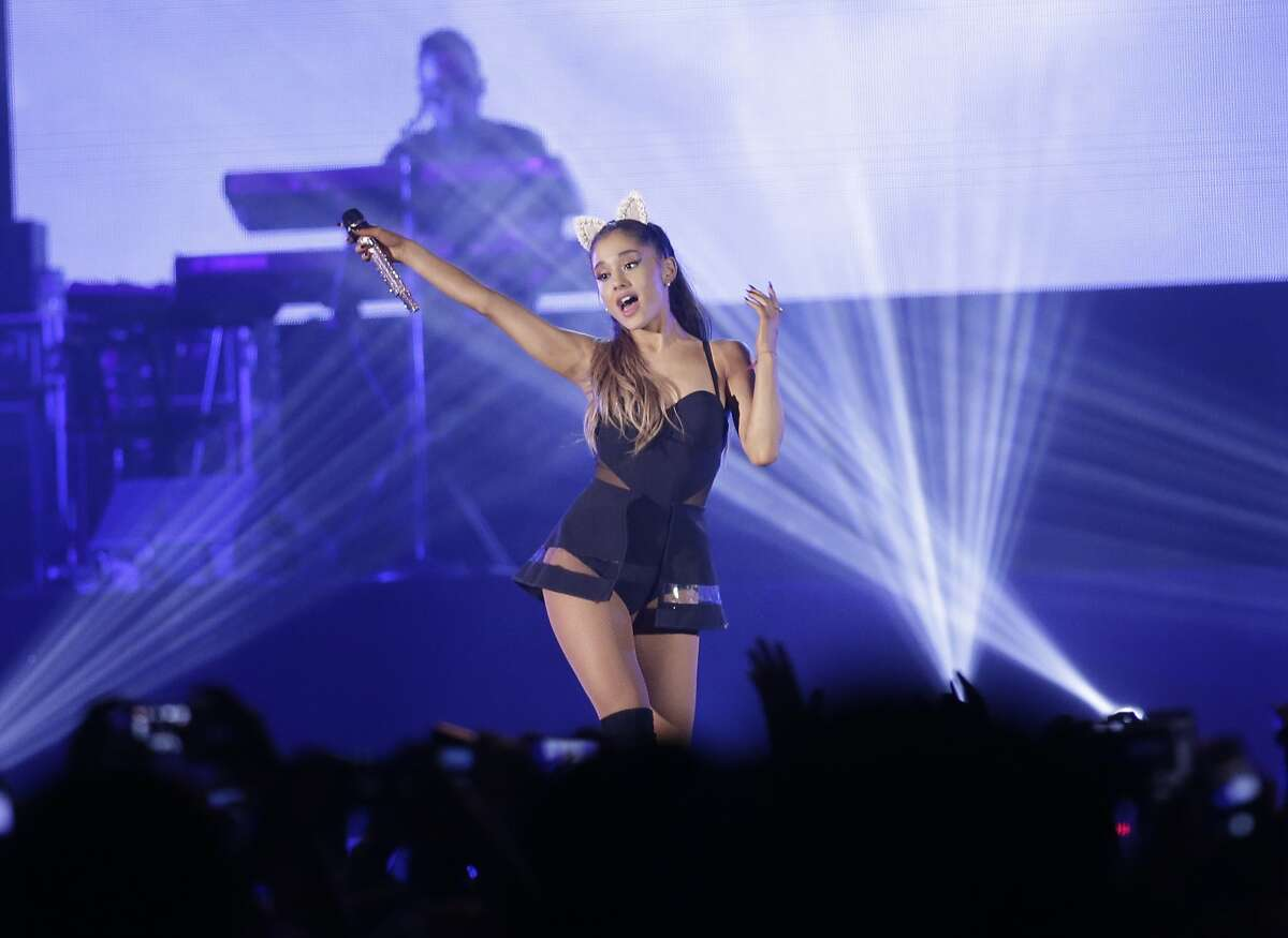 Ariana Grande performs during the honeymoon tour concert in Jakarta, Indonesia,Wednesday, Aug. 26, 2015. (AP Photo/Achmad Ibrahim)