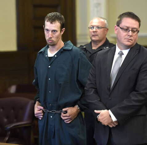 Jacob Heimroth, left, stands with his attorney Joe Ahearn during his arraignment on murder charges Monday morning, Sept. 8, 2014, at Rensselaer County Court in Troy, N.Y. (Skip Dickstein/Times Union)