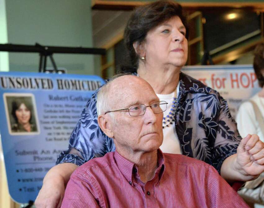 Doug and Mary Lyall of the Center for Hope launch a new round of 8 Coasters for Hope to help find Capital Region missing persons and find answers to several unsolved homicides during a news conference Thursday, May 21, 2015, in Clifton Park, NY. (John Carl D'Annibale / Times Union)