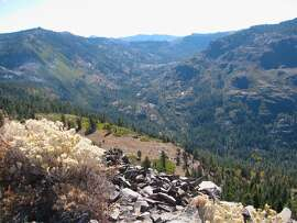 Just west of the Sierra Crest, looking down into the American River headwaters