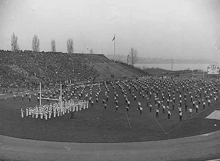 The Garfield High School band and drill team perform at Husky Stadium, pictured in a 1937 photo. Photo: Seattle Post-Intelligencer Archive, As Preserved By The Museum Of History & Industry