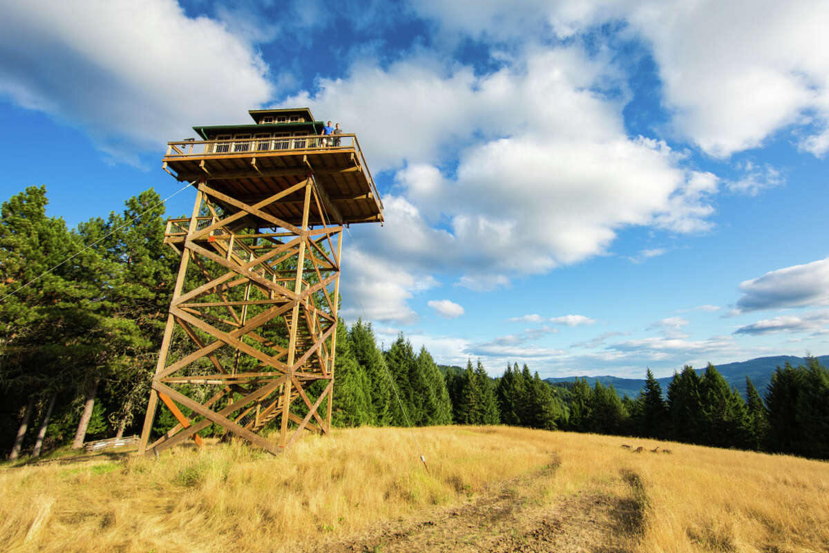 Former Dallas residents Dabney Tompkins and Alan Colley built this fire lookout on a 160-acre meadow in rural Oregon. Their home, known as the