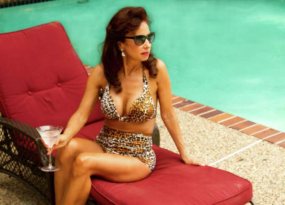 """Actress June Griffin Garcia rehearses a poolside scene for a new movie, """"Illusions of Cyn."""" Photo: Michelle DeBelen,  'Illusions Of Cyn' Publicity"""