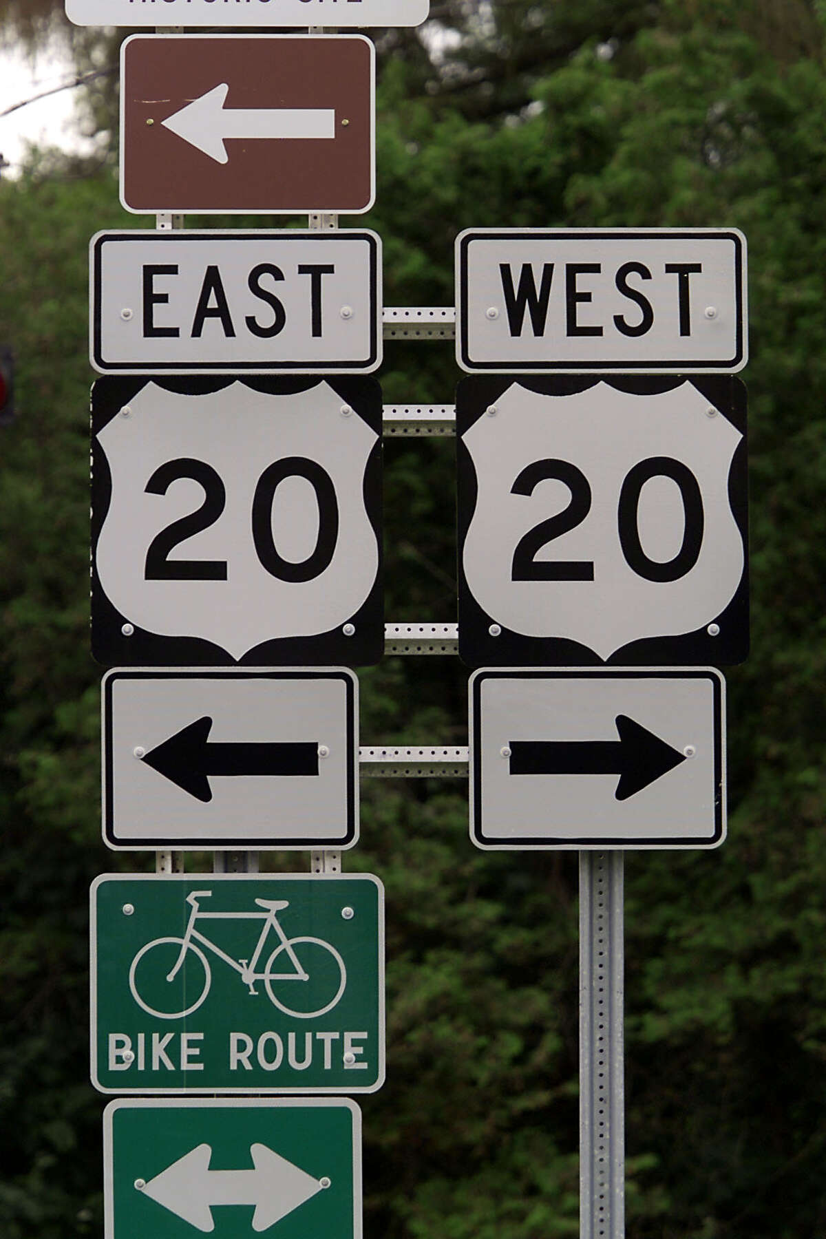 -U.S. Route 20 road signs are seen near Cazenovia, N.Y., in this photo taken July 24, 2000. U.S. 20 is a trip through New York history that provides travelers with breathtaking countryside vistas, charming historic villages and roadside curiosities from one end of the state to the other. (AP Photo/Michael Okoniewski) ORG XMIT: MER2015082610454802