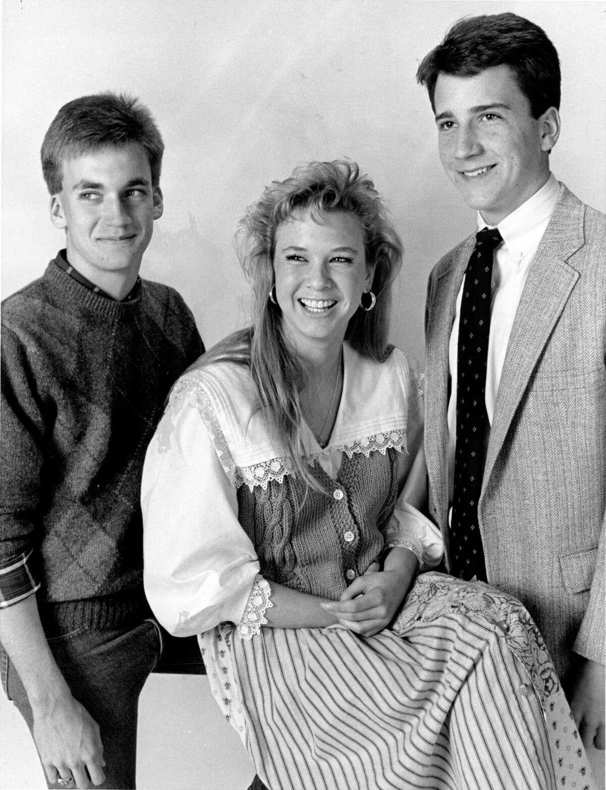Houston Post High School Natural Science Essay Contest winners Paul Poirot, left, Renée Zellweger, and Mark Beeley, January 1987.