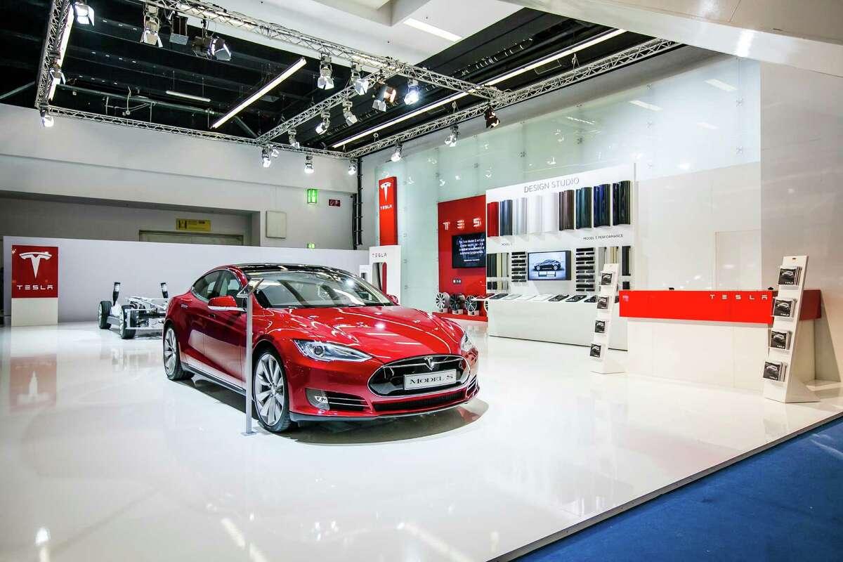 The Tesla Model S electric car.