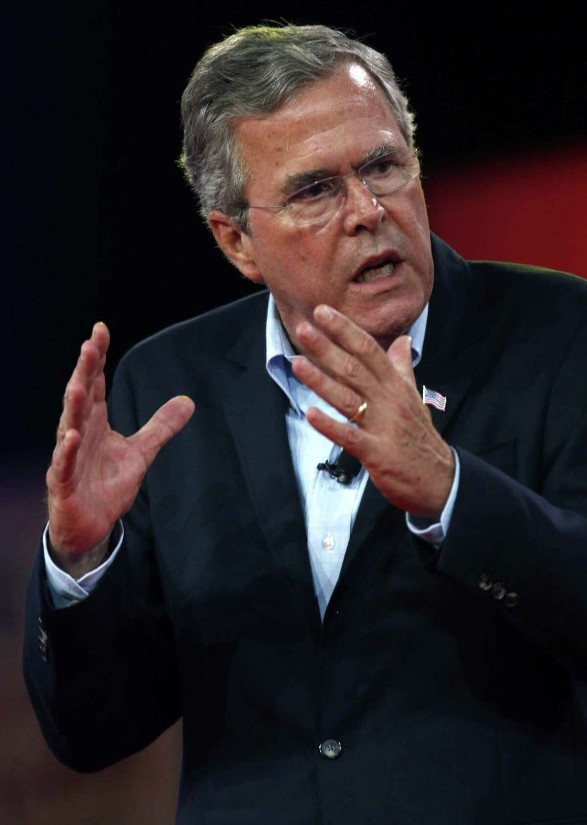 Republican presidential candidate, former Florida Gov. Jeb Bush speaks at the Defending the American Dream summit hosted by Americans for Prosperity at the Greater Columbus Convention Center in Columbus, Ohio, Friday, Aug. 21, 2015. (AP Photo/Paul Vernon)