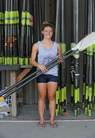 Meghan Gutknecht poses for a photo after rowing on the Hudson River near the Corning preserve boat launch on Tuesday, Aug. 25, 2015 in Albany, N.Y. Gutknecht won a Bronze medal as a member of USA Women's quadruple scull crew at the 2015 World Rowing Junior Championships held August 5-9 in Rio de Janeiro, Brazil. (Lori Van Buren / Times Union) Photo: Lori Van Buren / 00033107A