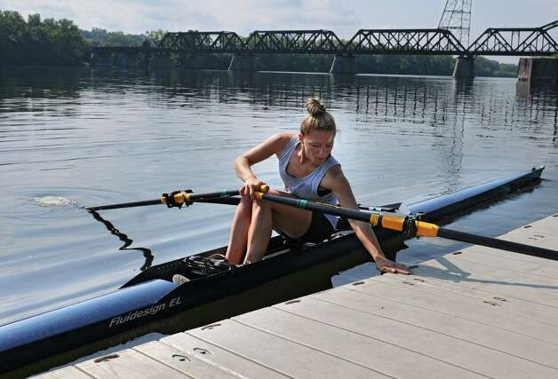 Meghan Gutknecht gets ready to row on the Hudson River near the Corning preserve boat launch on Tuesday, Aug. 25, 2015 in Albany, N.Y. Gutknecht won a Bronze medal as a member of USA Women's quadruple scull crew at the 2015 World Rowing Junior Championships held August 5-9 in Rio de Janeiro, Brazil. (Lori Van Buren / Times Union) Photo: Lori Van Buren / 00033107A