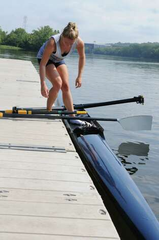 Meghan Gutknecht finishes rowing on the Hudson River near the Corning preserve boat launch on Tuesday, Aug. 25, 2015 in Albany, N.Y. Gutknecht won a Bronze medal as a member of USA Women's quadruple scull crew at the 2015 World Rowing Junior Championships held August 5-9 in Rio de Janeiro, Brazil. (Lori Van Buren / Times Union) Photo: Lori Van Buren / 00033107A
