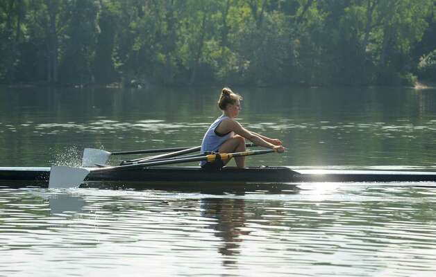 Meghan Gutknecht rows on the Hudson River near the Corning preserve boat launch on Tuesday, Aug. 25, 2015 in Albany, N.Y. Gutknecht won a Bronze medal as a member of USA Women's quadruple scull crew at the 2015 World Rowing Junior Championships held August 5-9 in Rio de Janeiro, Brazil. (Lori Van Buren / Times Union) Photo: Lori Van Buren / 00033107A