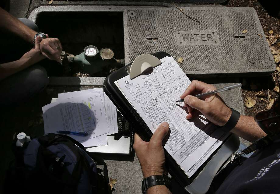 Water auditors from the Marin Municipal Water District Craig Lauridsen and Sergio Paganelli, monitor the water flow meter that is used to irrigate the landscaping at the Acqua Hotel, in Mill Valley, Calif. as seen on Thurs. August 27, 2015. Photo: Michael Macor, The Chronicle