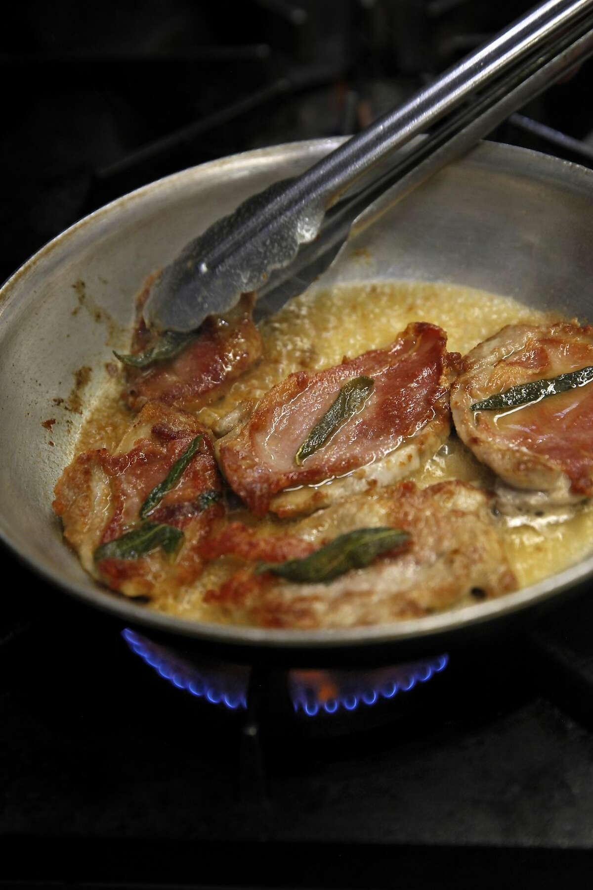 Veal Saltimbocca at Pietro Trattoria in Lodi, Calif., on Thursday, August 20, 2015 features veal, prosciutto and sage they grow themselves.