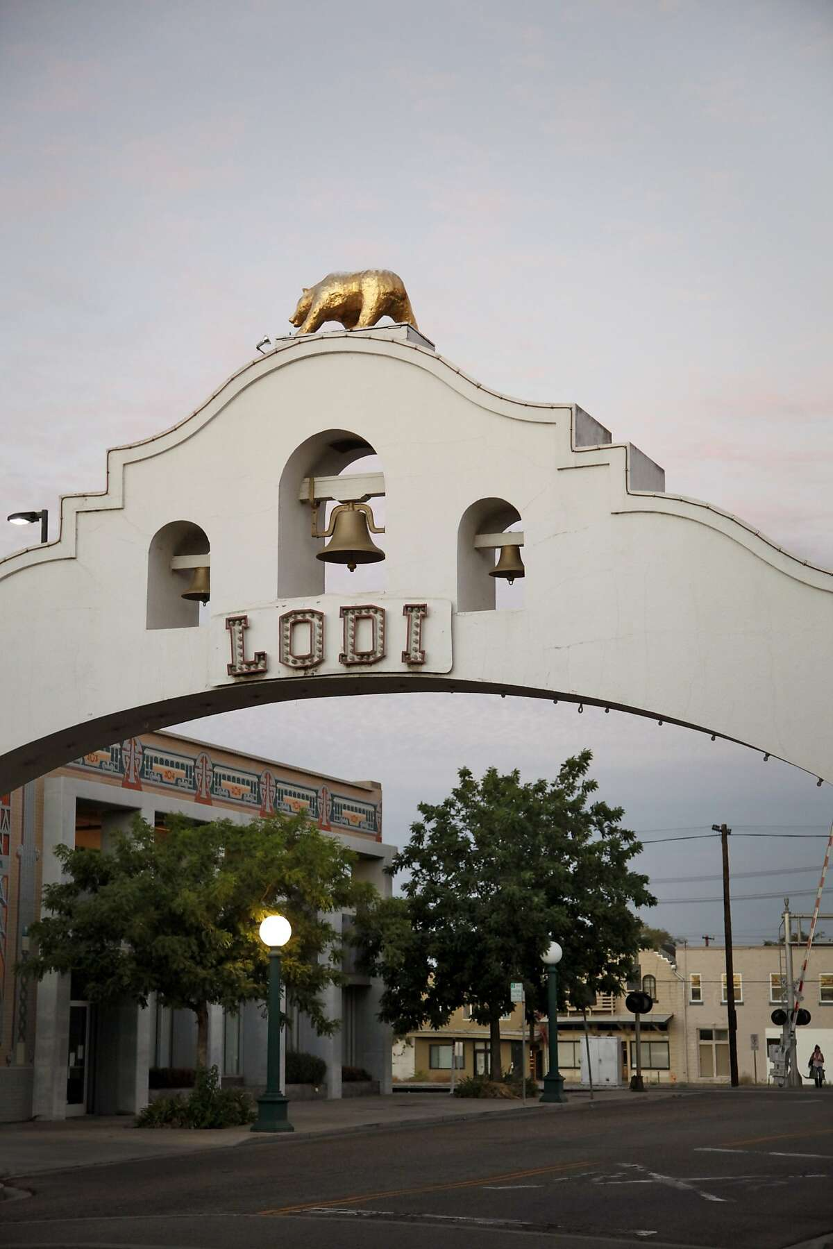 The historic Lodi Arch downtown was built in 1907. Lodi, Calif., on Wednesday, August 19, 2015.