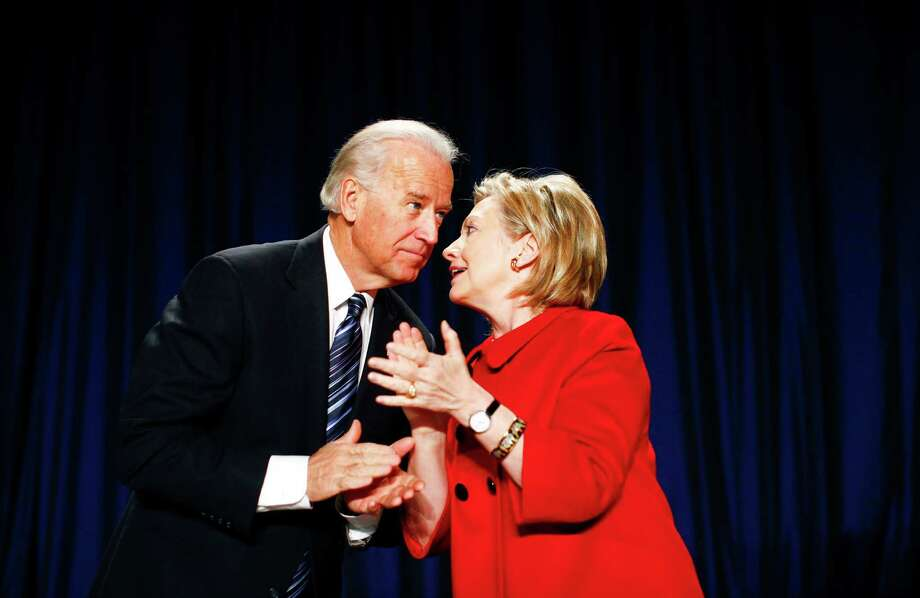 Vice President Joe Biden speaks with Secretary of State Hillary Rodham Clinton in Washington in 2010. Photo: Luke Sharrett / New York Times File Photo / Connecticut Post contributed