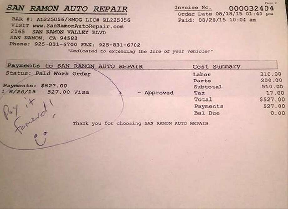 """Example of """"paying it forward"""" with a free auto repair. Photo by Frank Somerville & Christine Miller, altered to remove partial credit card numbers."""