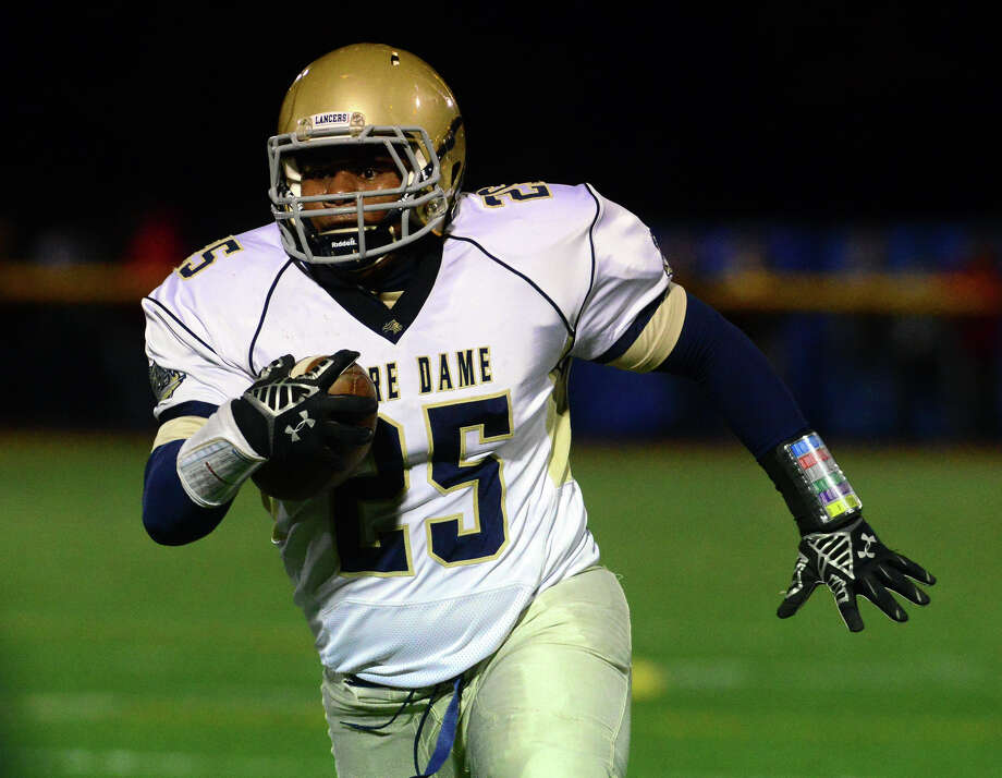 Notre Dame-Fairfield's Hakim Fleming earned all-SWC honors as a junior, rushing for 1,251 yards and 12 touchdowns. Photo: Christian Abraham / Christian Abraham / Connecticut Post