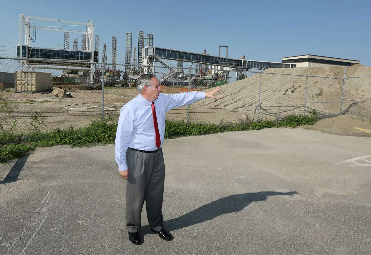 Galveston Port Director, Michael J. Mierzwa describes the construction conflicts with the new cruise terminal construction on the Galveston Port on August 27, 2015 in Galveston, TX. (PhotoFor the Chronicle by Thomas B. Shea)