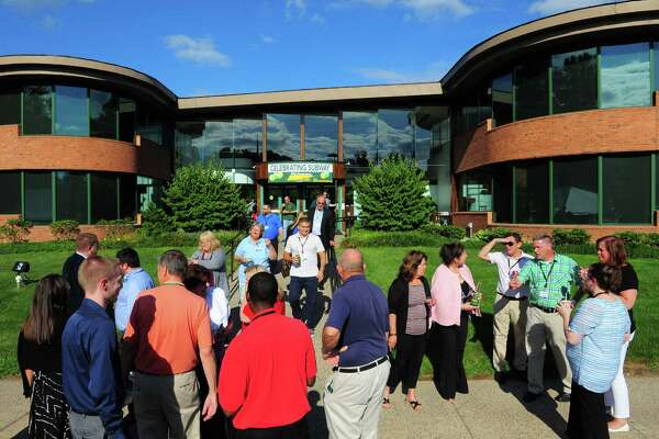 Subway holds its 50th anniversary celebration at the world headquarters in Milford, Conn. on Wednesday Aug. 27, 2015. Hundreds of employees gathered to celebrate the business and its humble beginnings in Bridgeport in 1965.