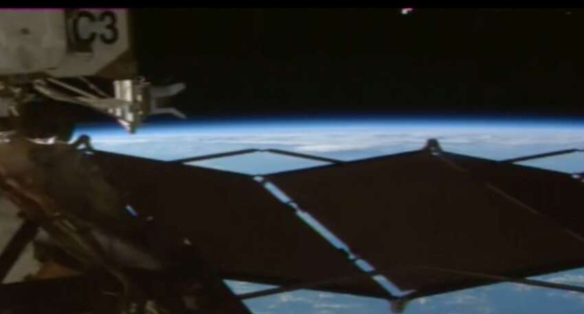 This images was taken from the original recording of live video feed from the International Space Station on Aug. 3.