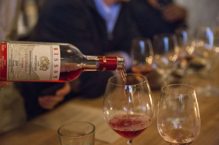 A 2014 rosé from Italian producer Bisson, made from the Ciliegiolo grape, is poured at the all-rosé wine pairing dinner at Flour + Water in San Francisco. Photo: Craig Lee