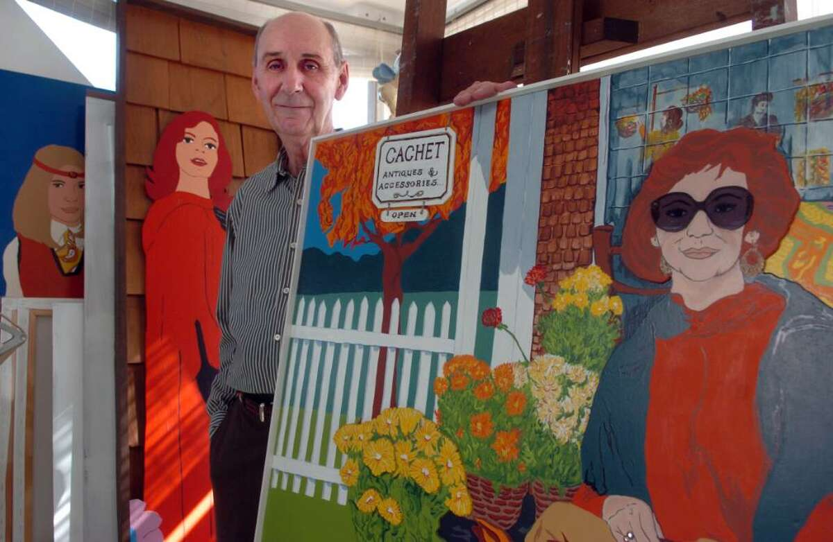 Noted artist George Amato stands among some of his paintings at his home in Milford. Amato is getting a career retrospective at the Lyman Gallery at Southern Connecticut State University next month.