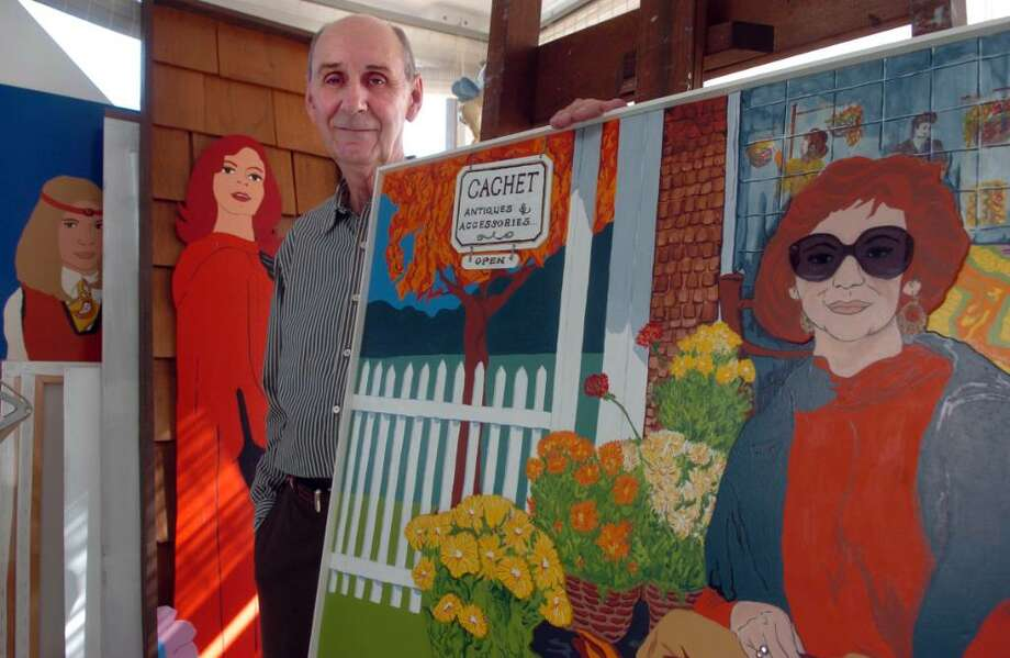 Noted artist George Amato stands among some of his paintings at his home in Milford.  Amato is getting a career retrospective at the Lyman Gallery at Southern Connecticut State University next month. Photo: Autumn Driscoll / Connecticut Post