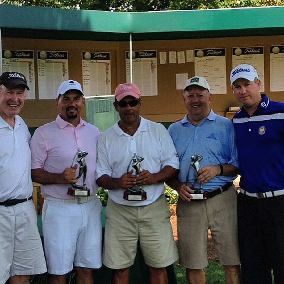 The club golf champions were crowned recently at Richter Park Golf Course. Pictured are, from left, Richter Park's men's club president Chuck Hansen, men's senior champion Paul Dinardo, men's champion Bob Cesca, men's super-senior winner Ernie Badillo and Richter Park's Director of Golf and Operations/Head Golf Professional Brian Gehan. Photo: Contributed / Contributed / News-Times Contributed
