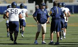 Cal head football coach Sonny Dykes during workouts at Memorial Stadium on the UC Berkeley campus in Berkeley, Calif. on Thurs. August 27, 2015.