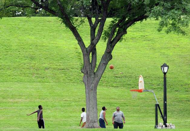 A temporary basketball court was set up as part of the End-of-Summer City of Albany Department of Recreation's Allympics Event at Lincoln Park on Thursday, Aug. 27, 2015, in Greenwich, N.Y. (Michael P. Farrell/Times Union) Photo: Michael P. Farrell / 00033105A