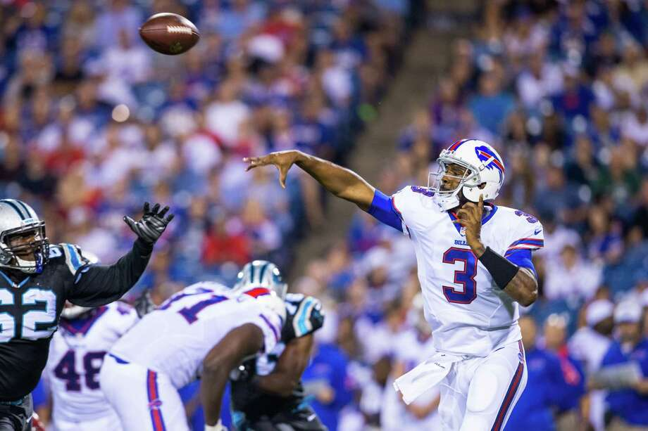 ORCHARD PARK, NY - AUGUST 14:  EJ Manuel #3 of the Buffalo Bills passes the ball during the second half against the Carolina Panthers on August 14, 2015 during a preseason game at Ralph Wilson Stadium in Orchard Park, New York.  Carolina defeats Buffalo 25-24.  (Photo by Brett Carlsen/Getty Images) ORG XMIT: 565830049 Photo: Brett Carlsen / 2015 Getty Images