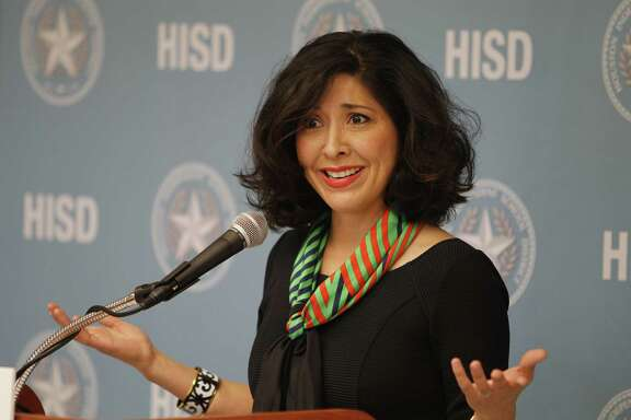 Juliet Stipeche speaks during a press conference announcing the partnership between Washington's Kennedy Center, HISD and City of Houston in national arts education program Thursday, Aug. 27, 2015, in Houston. Houston is 19th city selected to join the program.