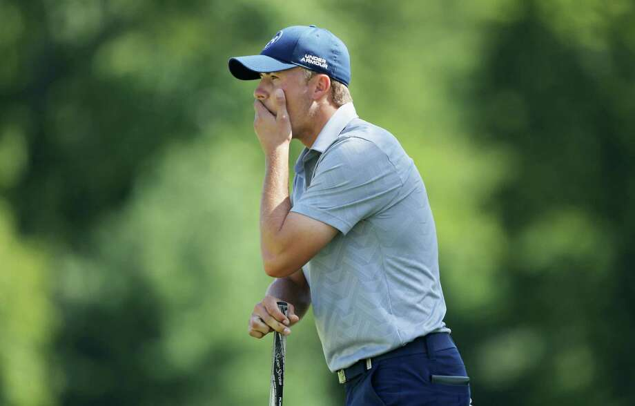 Jordan Spieth laments a missed birdie putt on the 18th hole that left him with a score of 74, his highest round since he shot a 75 while missing the cut at The Players Champion-ship in May. Photo: Hunter Martin, Stringer / 2015 Getty Images