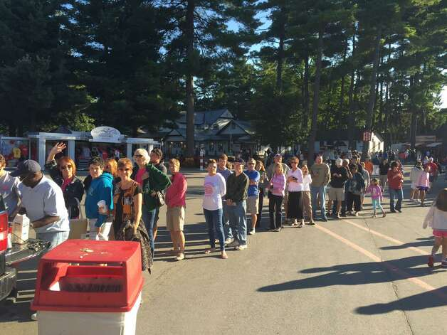 The coffee line was massive Frideay morning as people crowded Saratoga Race Course to get a glimpse of American Pharoah as as the Triple Crown winner prepared to workout the day before running in the Travers Stakes. (Skip Dickstein / Times Union)