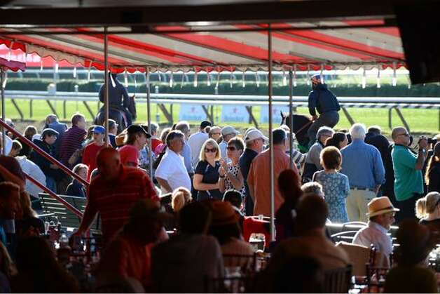 Thousands of people were inside Saratoga Race Course ahead of American Pharoah's 8:45 a.m. workout. The Triple Crown winner is in the Saratoga Springs for Saturday's running of the Travers Stakes. (Will Waldron / Times Union)