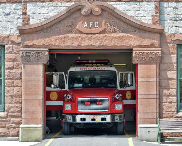 A fire truck inside the 122-year-old Engine No. 1 fire station Tuesday July 8, 2014, in Albany, NY.  (John Carl D'Annibale / Times Union) Photo: John Carl D'Annibale / 00027706A