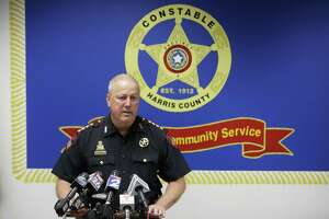 Constable Mark Herman speaks about a human smuggling operation during a press conference at the Harris County Courthouse Annex 17,  Friday, Aug. 28, 2015, in Houston. The operation led to four arrests.