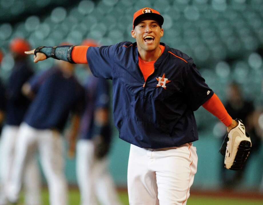 Houston Astros right fielder George Springer fractured has been out since fracturing his wrist on July 2. The Astros have missed his offense in the outfield. Photo: Karen Warren, Staff / © 2015 Houston Chronicle