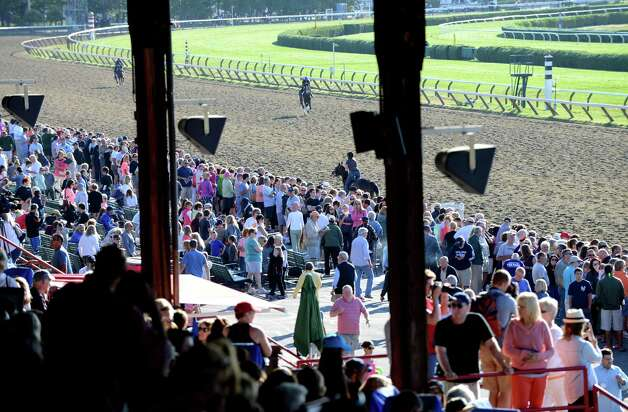 Spectators filled the stands at Saratoga Race Course to view Triple Crown winner American Pharoah's morning work out Friday, Aug. 28, 2015, in Saratoga Springs, N.Y. Pharoah will compete in Saturday's Travers Stakes. (Will Waldron/Times Union) Photo: WW / 00033155B