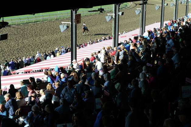 Spectators filled the Clubhouse at Saratoga Race Course to view Triple Crown winner American Pharoah's morning work out Friday, Aug. 28, 2015, in Saratoga Springs, N.Y. Pharoah will compete in Saturday's Travers Stakes. (Will Waldron/Times Union) Photo: WW / 00033155B