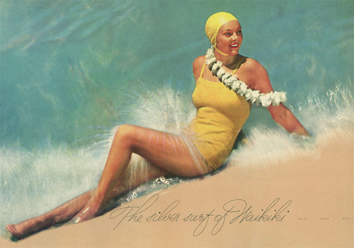 The silver surf of Waikiki: Edward Steichen shot this image for the Royal Hawaiian Hotel's 1935 promotional booklet. Matson Navigation Company opened the Waikiki hotel in 1927 to encourage travel on its ships to Hawaii from San Francisco. Interested travelers could contact Matson's travel offices and other agencies in Honolulu, New York, Chicago, San Francisco, Los Angeles, Seattle, Portland, Sydney and London.