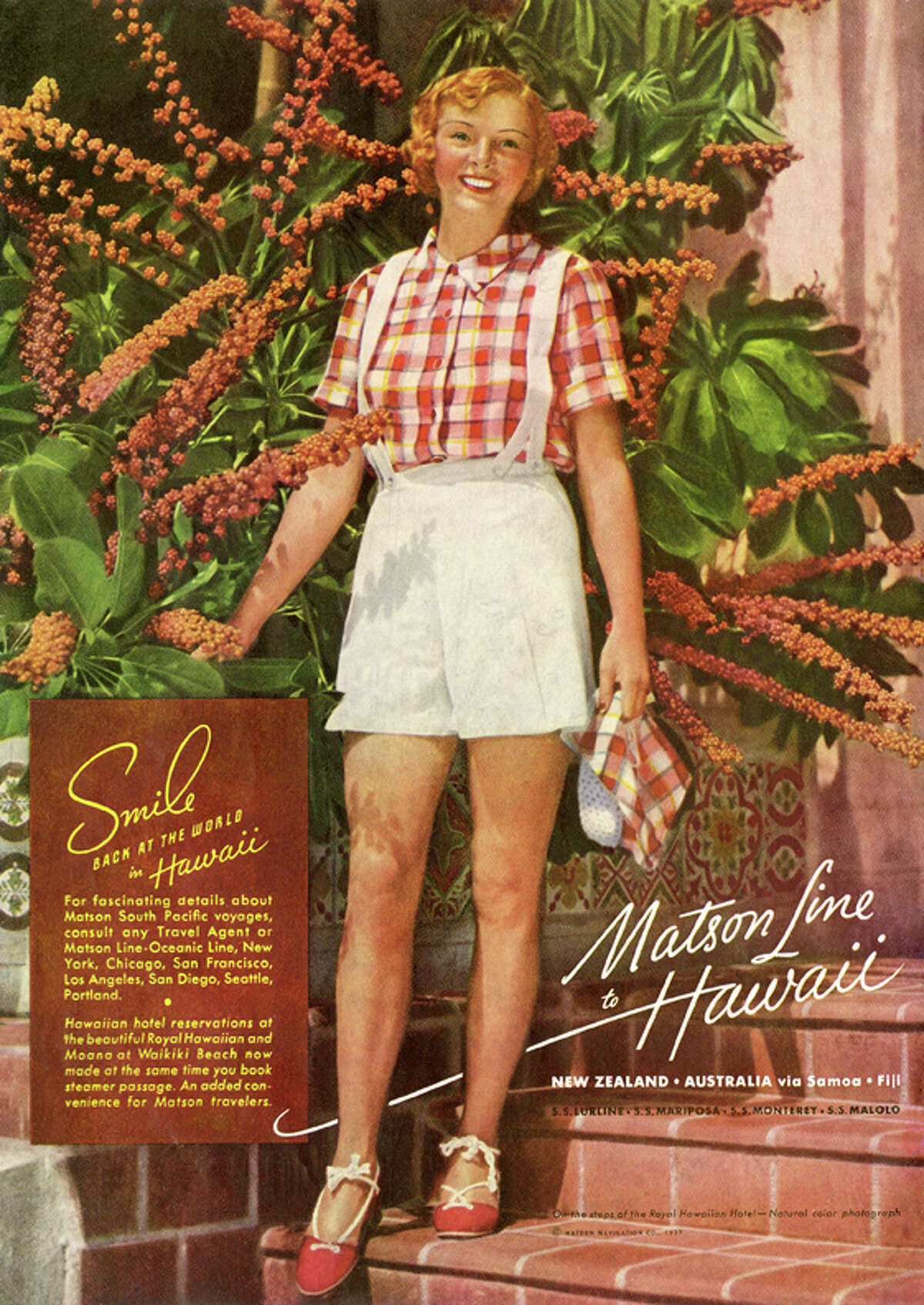 Smile back at the world: Renowned photographer Edward Steichen shot this image of a smiling tourist on the steps of the Royal Hawaiian Hotel for a 1937 Matson campaign. Attractive women, both tourists and locals, featured prominently in ads of the day. Now called just the Royal Hawaiian, the luxury hotel on Waikiki Beach has a free exhibition of Matson travel posters and other memorabilia on display through April 2016.