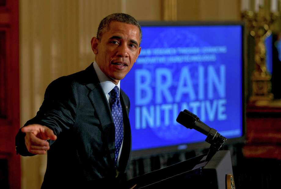 President Barack Obama speaks about the Brain Initiative, a program to invent and refine new technologies to understand the human brain, at the White House in 2013. A reader scoffs at new research that has developed a model of the brain. Photo: DOUG MILLS /New York Times / NYTNS