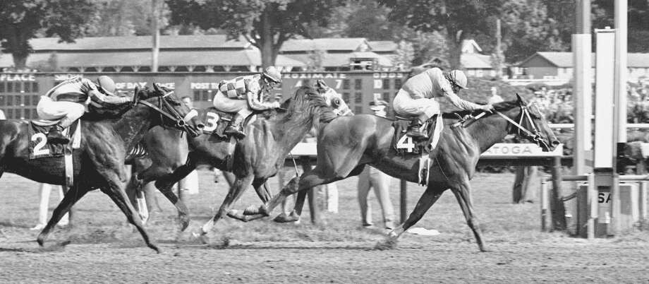 Saratoga history project Times Union staff photo by Skip Dickstein -- #4 Onion outduels #3 Secretariat to the wire in the 1973 Whitney at the Saratoga Race Course in Saratoga Springs, New York August of 1973. ORG XMIT: 5522501 Photo: Skip Dickstein / ALBANY TIMES UNION
