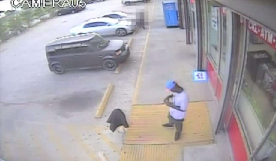 The Harris County Sheriff's Office has released security camera footage of an aggravated robbery and shooting outside a Houston food mart that left one man injured.  At around 7 p.m. on June 12, a 40-year-old male and his 43-year-old cousin were attacked while sitting on the tailgates of their trucks outside of a food mart in north Houston. Photo: Harris County Sheriffs Office