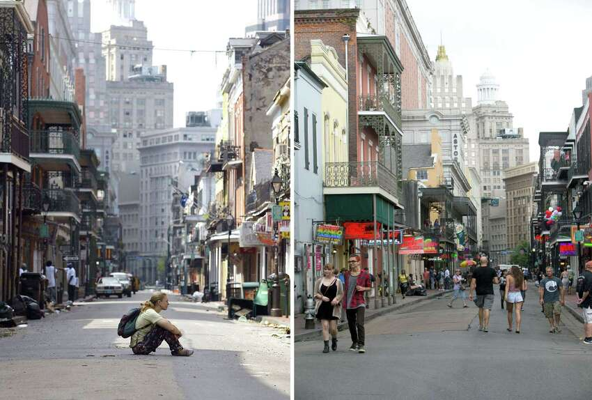 In this combination of images, (left) A women sits in the middle of Bourbon Street in the French Quarter of New Orleans, Louisiana, in this August 31, 2005 file photo, in aftermath of Hurricane Katrina and tourists walk on Bourbon Street on August 16, 2015. Ten years ago, Hurricane Katrina swept buildings off their foundations and deluged nearly all of New Orleans with floodwaters which rose so fast some people drowned in their homes. Those who made it to their rooftops or the relative safety of dry land waited days to be rescued as the Big Easy descended into chaos. Today, colorful homes on stilts have replaced many of the rotting hulks left behind after the low-lying coastal city in the southern United States was finally drained. AFP PHOTO/ JAMES NIELSON(TOP) and LEE CELANO--/AFP/Getty Images