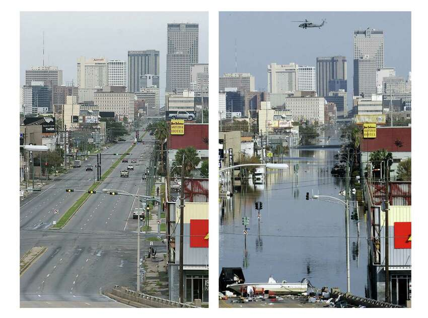 The New Orleans Central Business District is pictured both during and after Hurricane Katrina flooded this area of the city. AFP PHOTO/Robert SULLIVAN (bottom)AFP/AFP/Getty Images