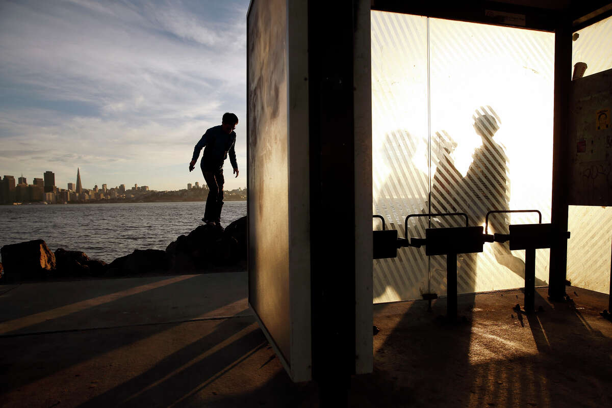 Tourists visit Treasure Island, where San Francisco officials hope an arts scene will help revitalize the island.